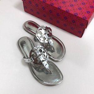 Tory Burch Silver Metallic Miller Sandals